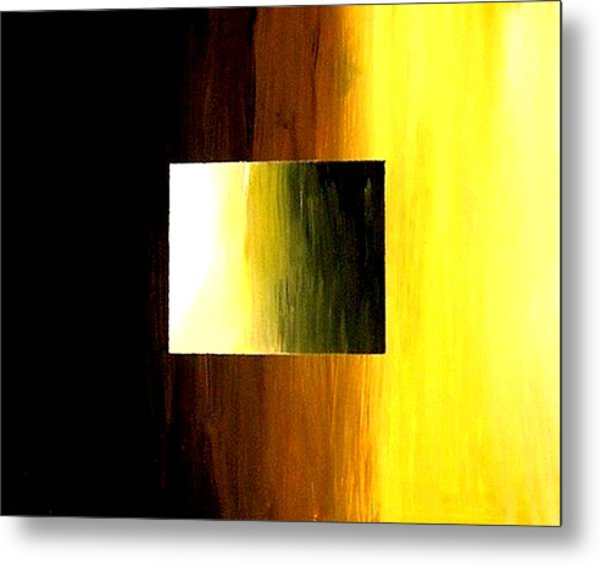Abstract 3d Golden Square Metal Print by Teo Alfonso