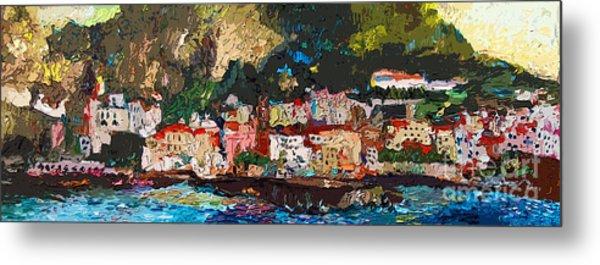 Abstract Amalfi Coast Panoramic Painting Metal Print