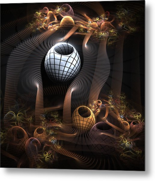 Abstract Bowls Or Pots And Tubes  Metal Print by Kim French