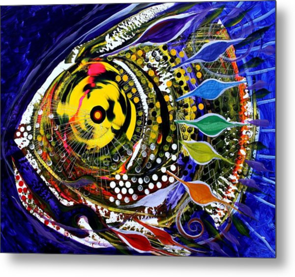 Abstract Busy Bee Fish Metal Print