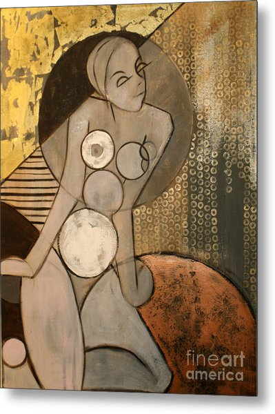 Abstract Female Nude Metal Print