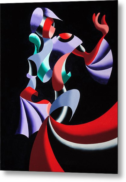 Abstract Geometric Futurist Figurative Oil Painting Metal Print by Mark Webster