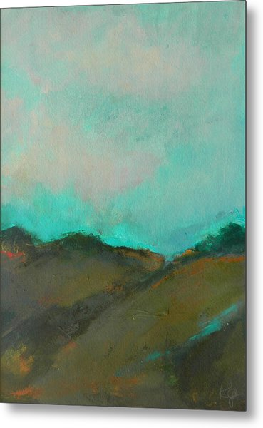 Abstract Landscape - Turquoise Sky Metal Print