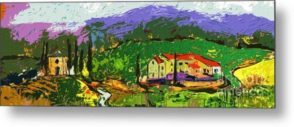 Abstract Panoramic Tuscan Landsape Metal Print