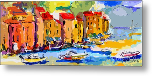 Abstract Portofino Italy And Boats Metal Print