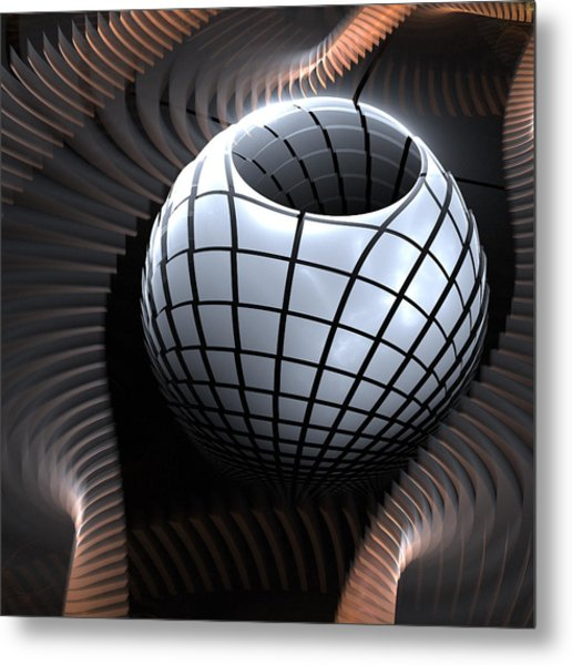 Abstract Pot And Waves  Metal Print by Kim French