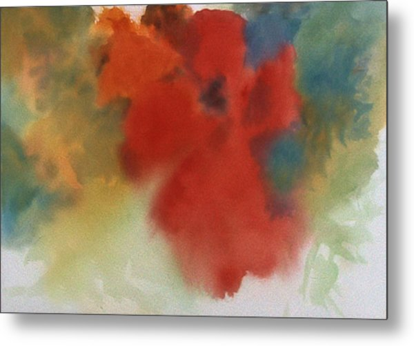 Abstract Red Poppy Metal Print