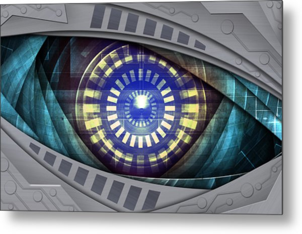 Abstract Robot Eye Metal Print