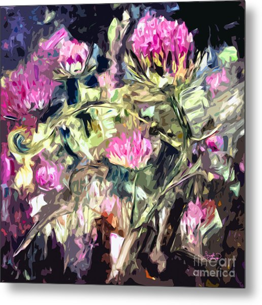 Abstract Thistles Modern Art Square Format Metal Print