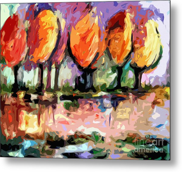 Abstract Trees By The Rivers Edge Landscape Metal Print