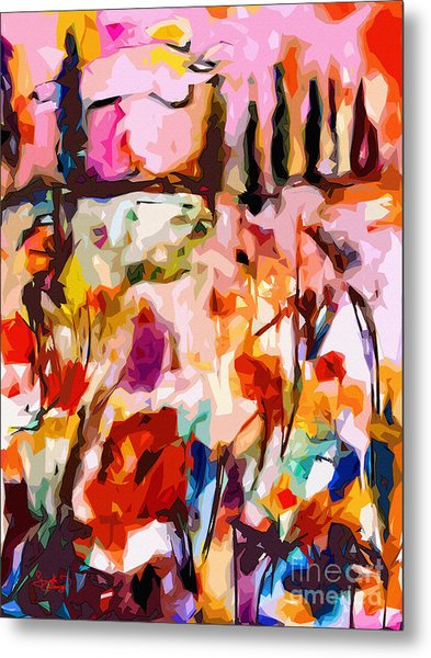 Abstract Tuscan Poppy Landscape Metal Print