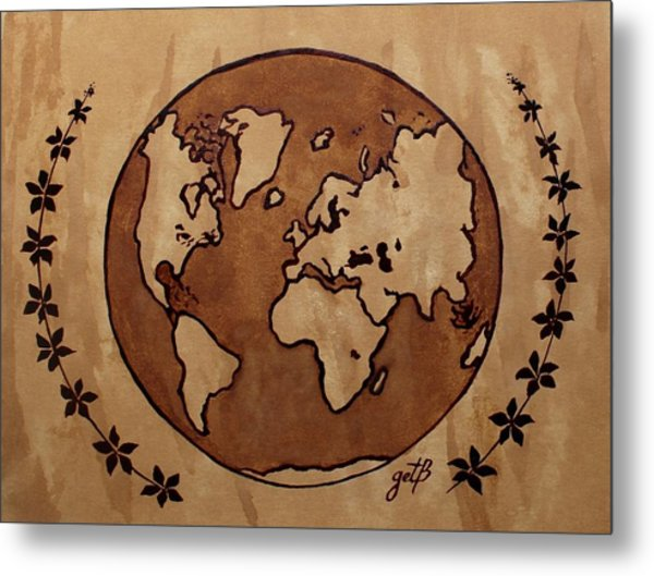 Abstract World Globe Map Coffee Painting Metal Print