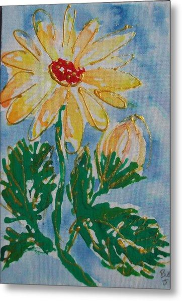Abstract Yellow Daisy Metal Print by Jan Soper