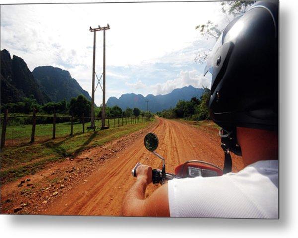 Adventure Motorbike Trip In Laos Metal Print by Thepurpledoor