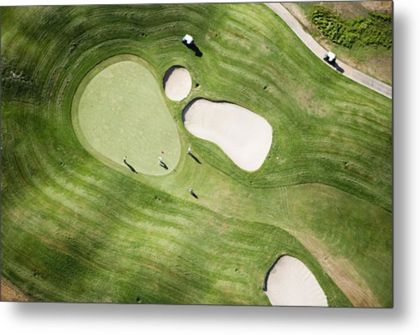 Aerial Of Golfers On Green Of Tierra Del Sol Golf Course Metal Print by Holger Leue