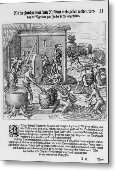 African Slaves Processing Sugar Cane Metal Print by Everett