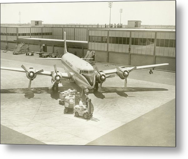 Airplane And Ground Crew On Airport Metal Print by George Marks