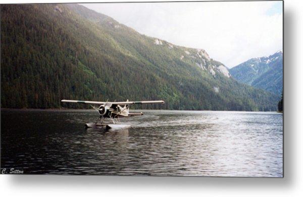 Airplane On Lake Metal Print