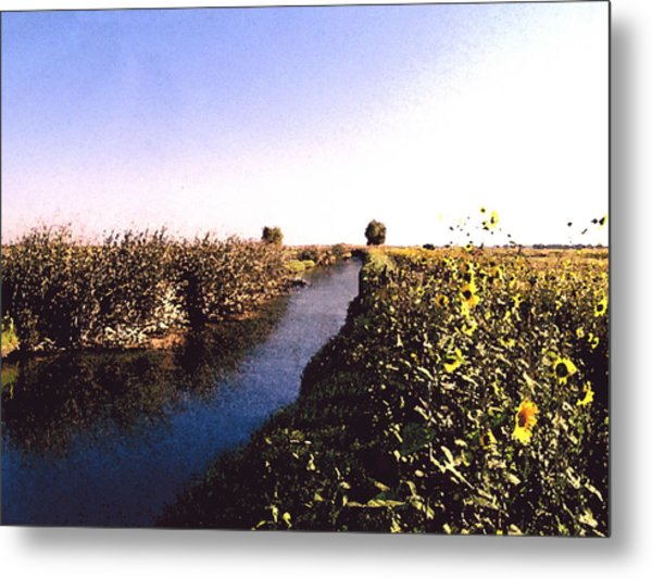 Airport Canal Metal Print by Eunice Olson