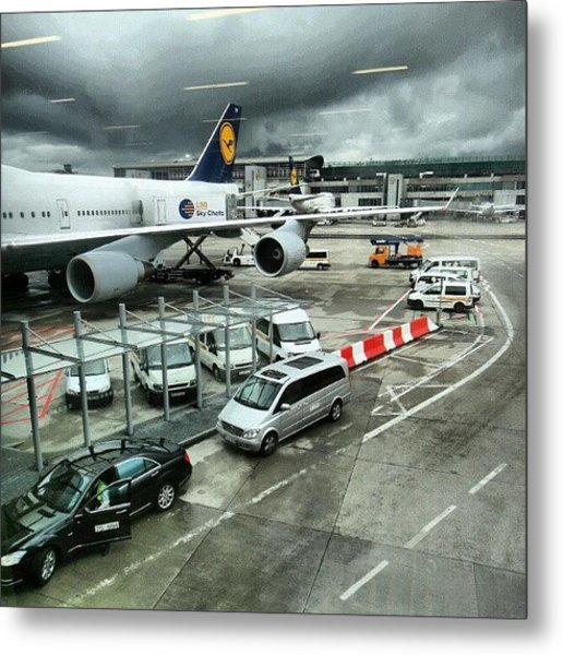#airport #manchester #plane #car #cloudy Metal Print