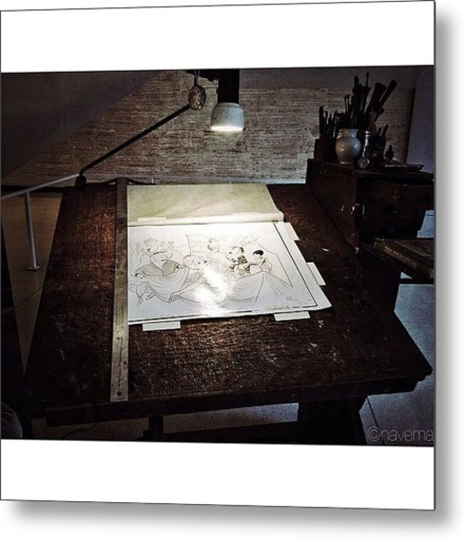 Al Hirschfeld's Drawing Table Metal Print