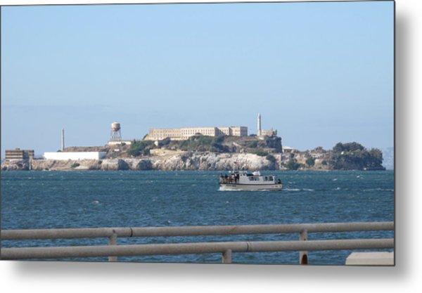 Alcatraz Island And Charter Fishing Boat Metal Print