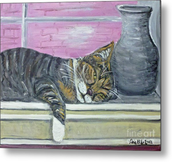 Alex On Windowsill  Metal Print