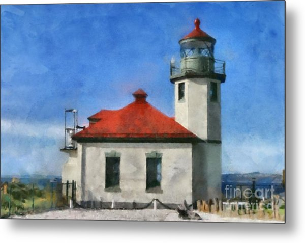 Alki Point Lighthouse In Seattle Washington Metal Print