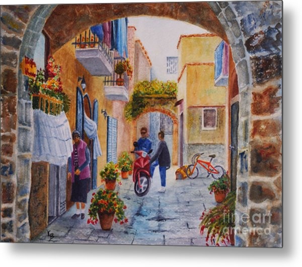 Alley Chat Metal Print