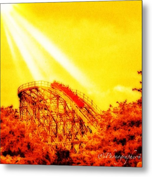 #amazing Shot Of A #rollercoaster At Metal Print