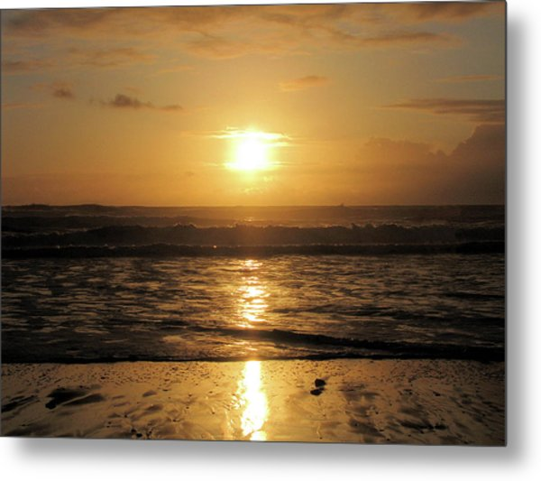 Amber Sunset Pacific Metal Print