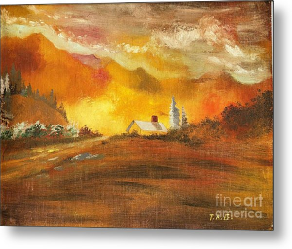 Amber Sunset Metal Print