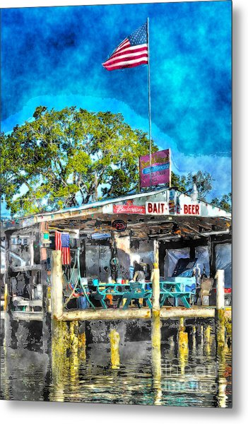 American Flag At Bait Shop Metal Print