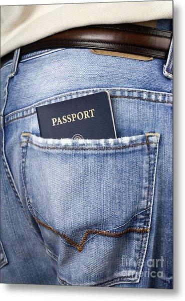 American Passport In Back Pocket Metal Print by Blink Images
