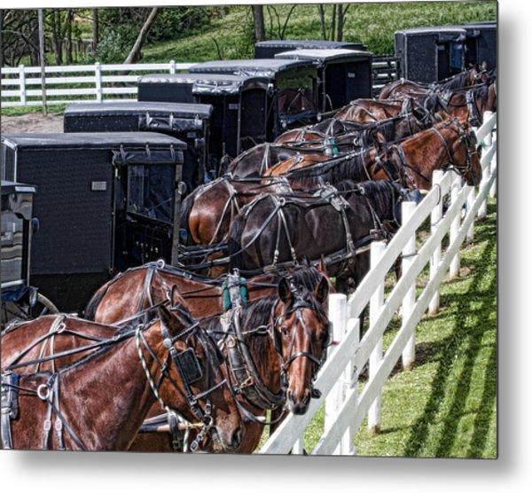 Amish Parking Lot Metal Print