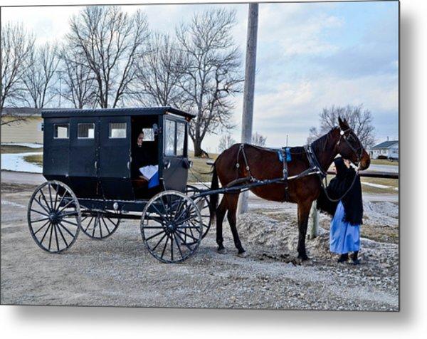 Amish Women Metal Print by Brenda Becker