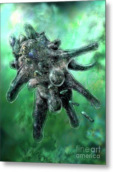 Amoeba Green Metal Print