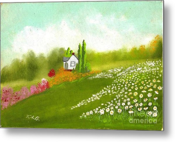 Among Daisies Metal Print