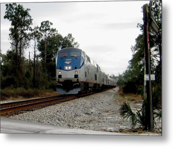 Amtrak Silver Meteor At Lake Woodruff Florida Metal Print