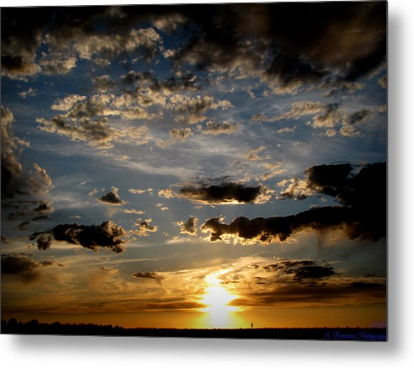 An Evening Walk Under The Sunset Metal Print by Aaron Burrows
