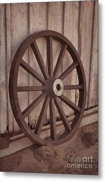 An Old Wagon Wheel Metal Print