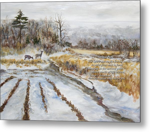 Ancient Path With Poem Metal Print