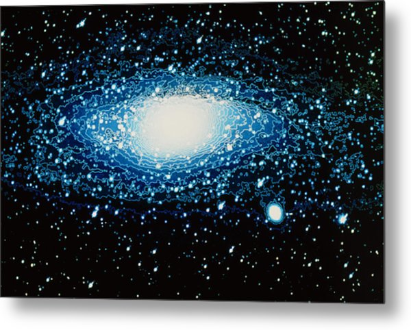 Andromeda Galaxy With Brightness Contour Lines Metal Print by Laguna Design