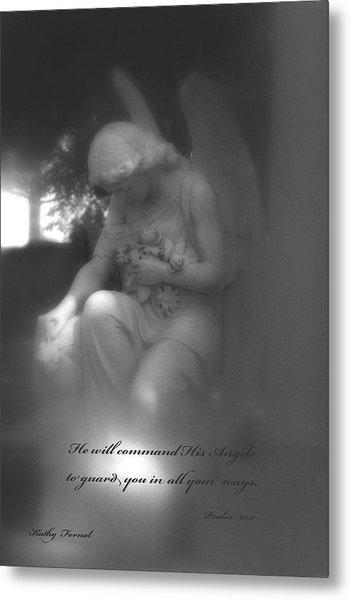 Angel Kneeling In Prayer - Inspirational Angel Art Metal Print