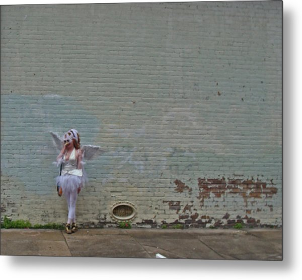 Angel With A Cell Phone On Mardi Gras Day In New Orleans Metal Print