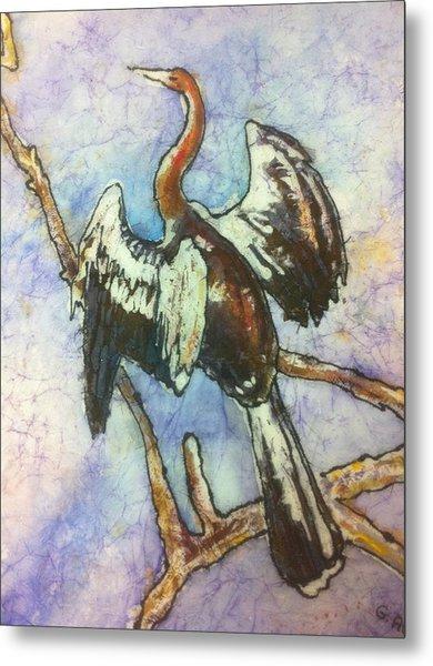 Anhinga Dries His Wings Metal Print