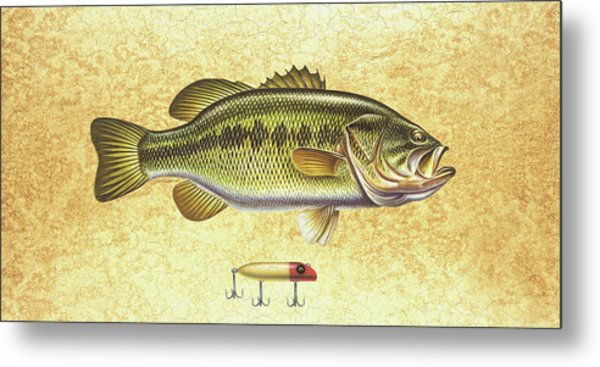 Antique Lure And Bass Metal Print