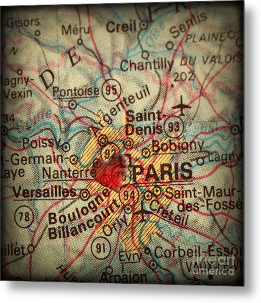 Antique Map With A Heart Over The City Of Paris In France Metal Print by ELITE IMAGE photography By Chad McDermott