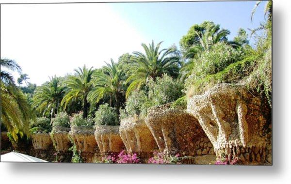Antoni Gaudi Park Guell Plants Barcelona Spain Metal Print by John Shiron