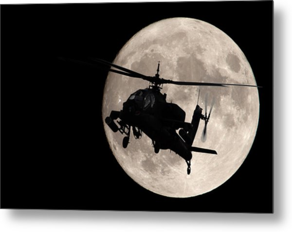 Apache In The Moonlight Metal Print